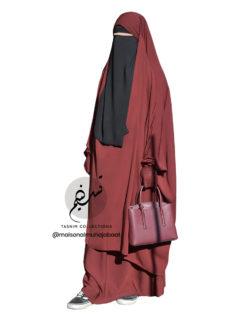 "Two Piece Jilbab ""Asiya"" Rusty Burgundy - Tasnim Collections"