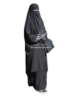 "Two Piece Jilbab ""Asiya"" Black - Tasnim Collections"