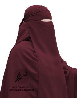 "One Piece Niqab ""Aaliyah"" Burgundy - Tasnim Collections"