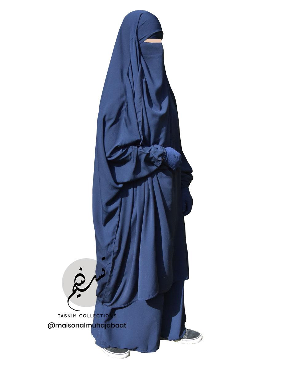 "Two Piece Jilbab ""Asiya"" Dark Blue - Tasnim Collections"