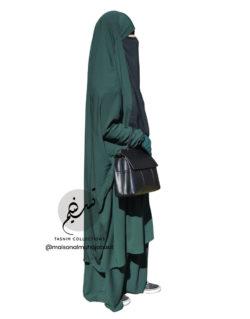 """Two Piece Jilbab """"Asiya"""" Dark Emerald Jilbab - Tasnim Collections"""