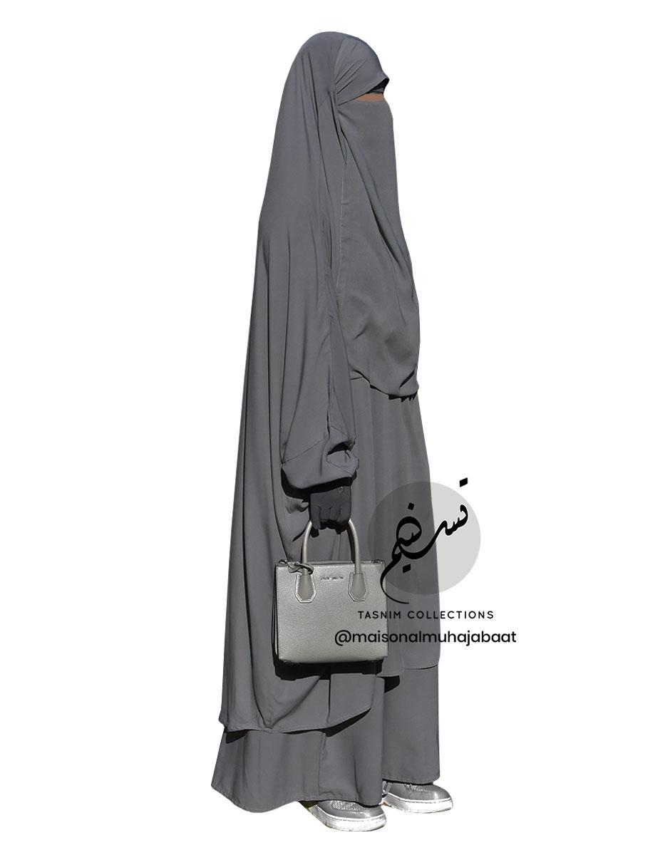 """Two Piece Jilbab """"Asiya"""" Dark Grey - Tasnim Collections"""