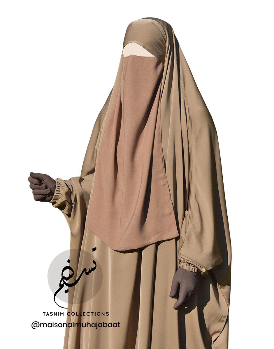 """Elastic Lithaam Half Niqab """"Aaliyah"""" - Tasnim Collections chiffon"""