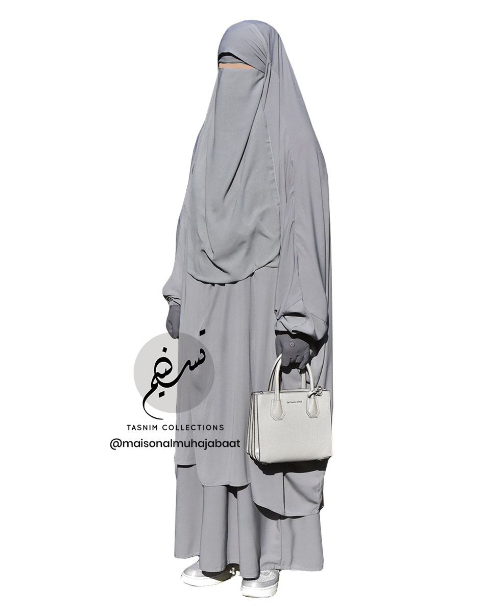 "Two Piece Jilbab ""Asiya"" Light Grey - Tasnim Collections"