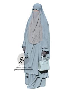 "Two Piece Jilbab ""Asiya"" Stone Blue - Tasnim Collections"