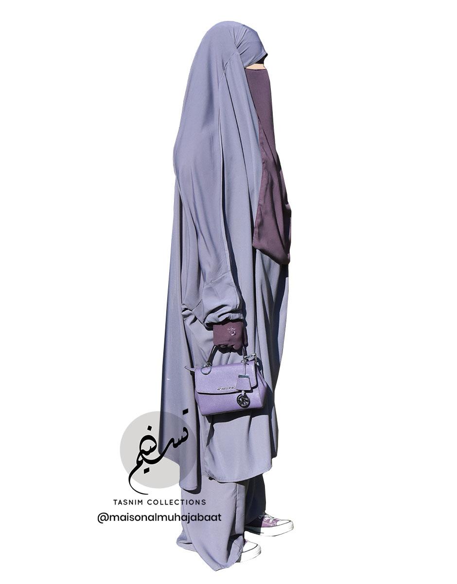 "Two Piece Jilbab ""Asiya"" Grey Mauve - Tasnim Collections"