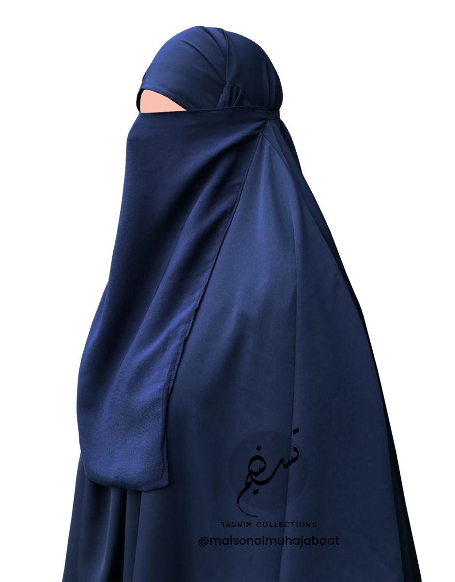"Elastic Half Niqab ""Aaliyah"" Dark Blue - Tasnim Collections"