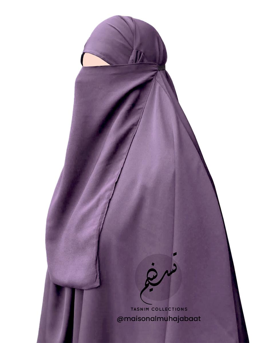 "Elastic Half Niqab ""Aaliyah"" Mauve – Tasnim Collections"