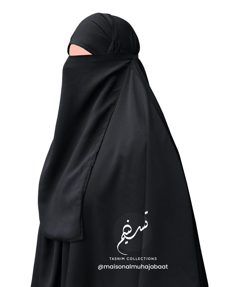 """Elastic Half Niqab """"Aaliyah"""" Black - Tasnim Collections"""