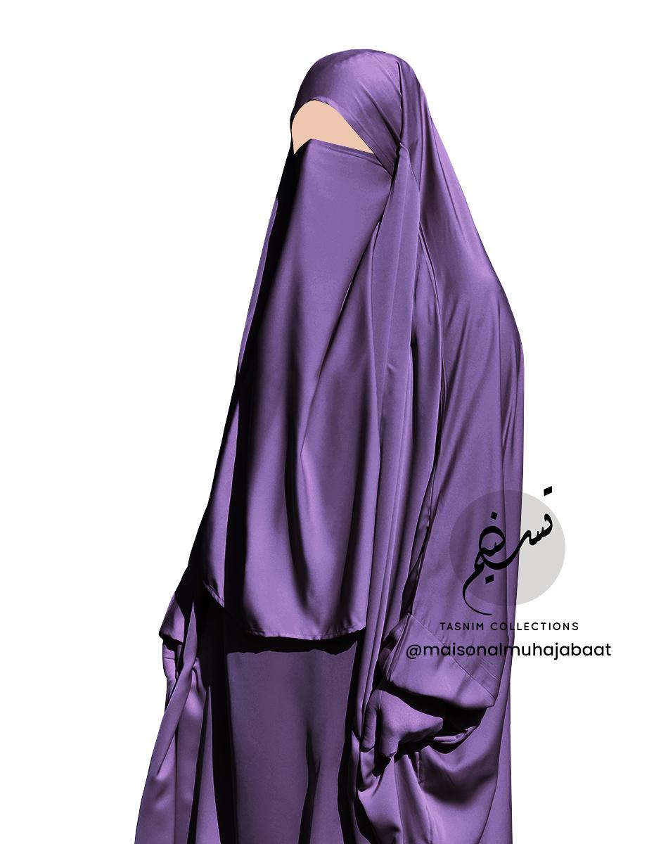 Dark Mauve nidha half niqab 1 Tasnim Collections