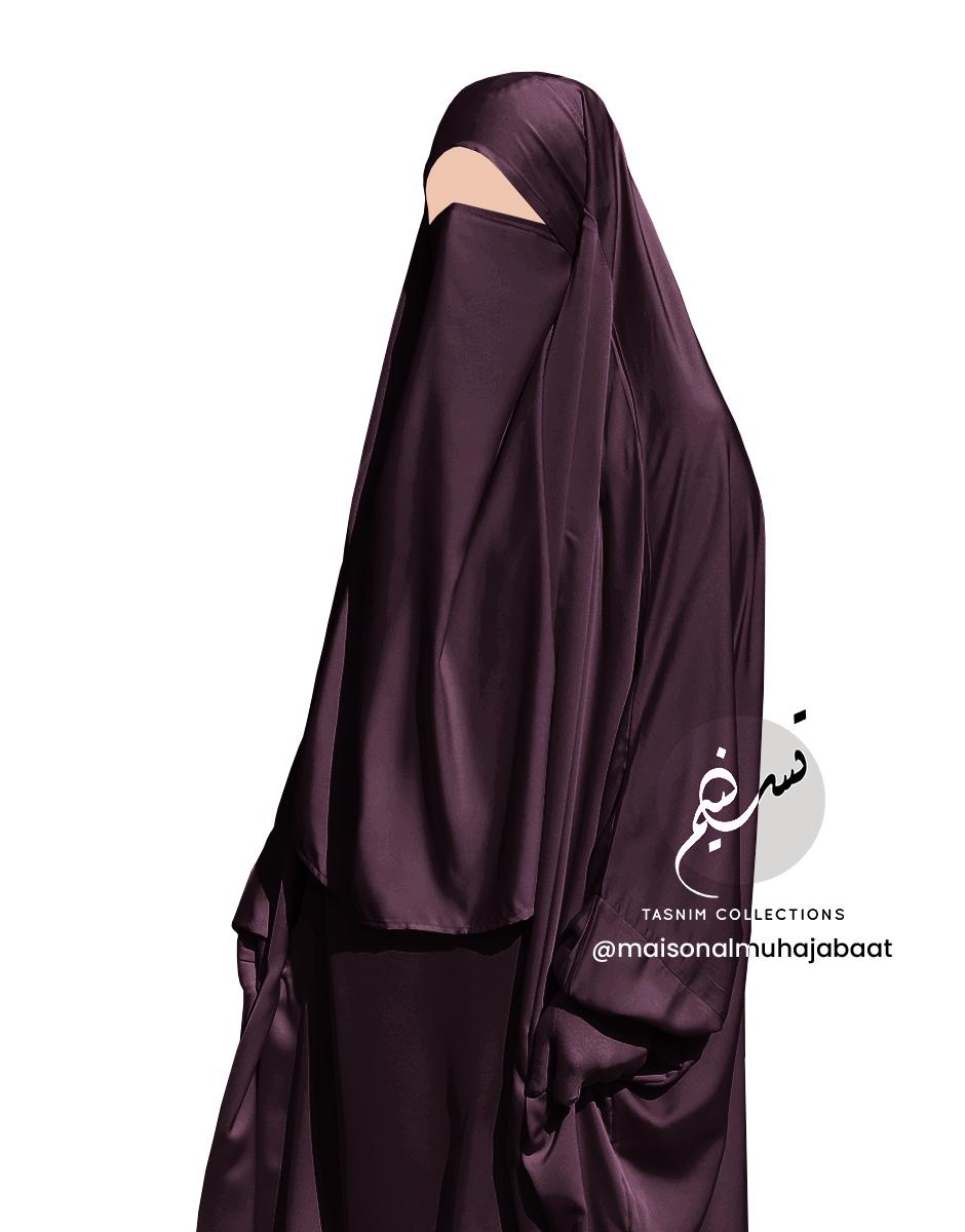 Dark violet brown nidha half niqab 1 Tasnim Collections