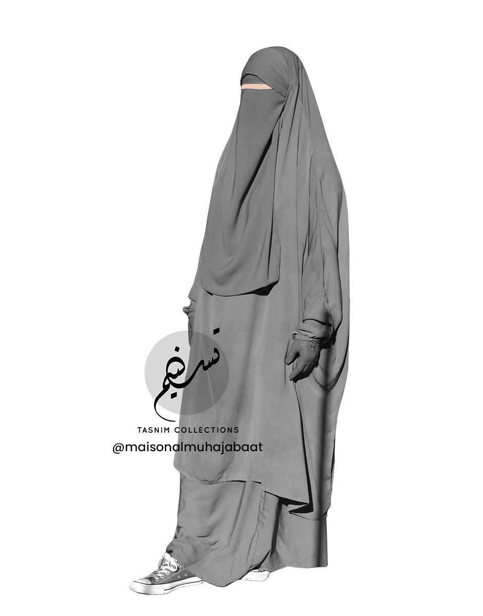 "Two Piece Jilbab ""Asiya"" Grey - Tasnim Collections"