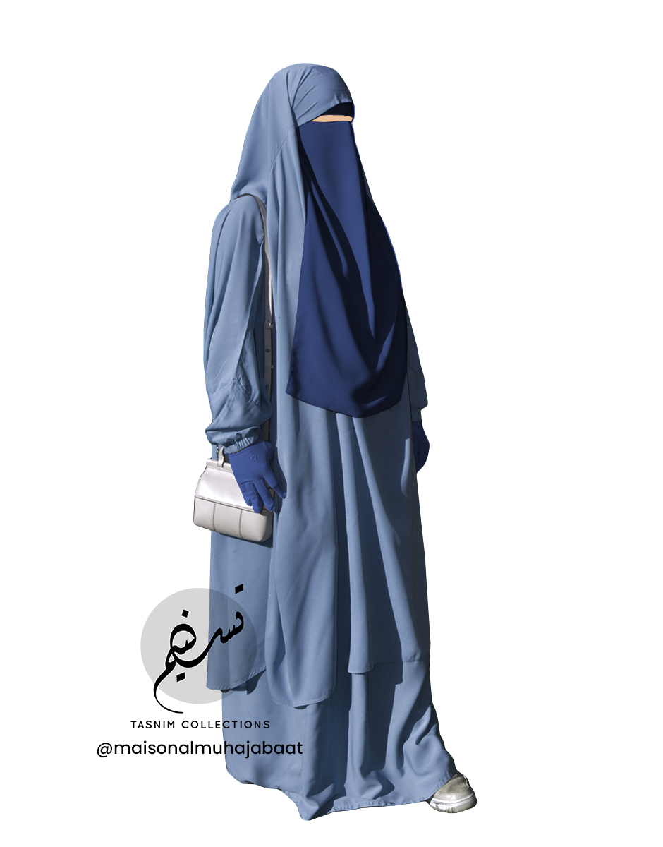 "Two Piece Jilbab ""Asiya"" Blue Grey - Tasnim Collections"