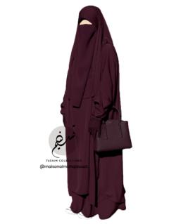 "Two Piece Jilbab ""Asiya"" Grape Burgundy - Tasnim Collections"