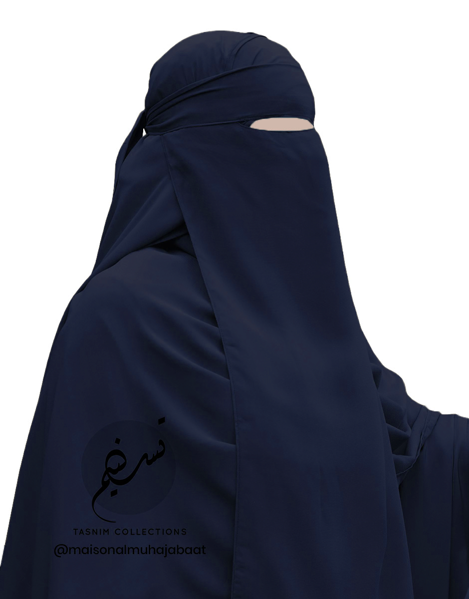 """One Piece Niqab """"Aaliyah"""" Midnight Blue - Tasnim Collections"""